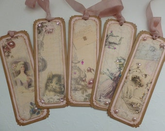 Vintage style bookmarks or gift tags, mauve, pink roses, kitten, vintage ladies in hats, tea pot - set of 5