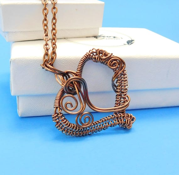 Copper Jewelry Necklace Girlfriend Gift, Wire Heart Necklace, Woven Wire Heart, Heart Pendant Gift, Wire Art Jewelry, Handmade Necklace