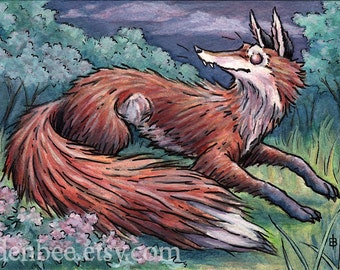 """Signed and matted print of original Fox and Flox watercolour painting by Eden Bachelder, 7"""" x 10"""" image in 11"""" x 14"""" mat"""