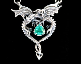Silver Dragon Heart Pendant with Emerald Dragon Jewelry Gothic Dragon Renaissance Fantasy Necklace Emerald Heart Pendant Love Jewelry