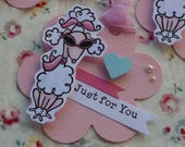 Just for You - With Love - Thank You  - Set of 3 gift tags with cute poodle dog