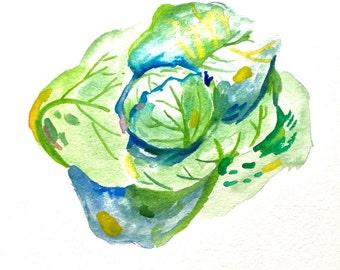 "Little Cabbage Watercolor, Original Art, Veggie Art, 11""x15"""