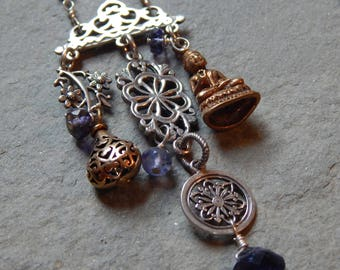 Sterling Silver and Brass Charm Necklace with Iolite Chain, Buddha charm, filigree sterling silver charms, long iolite handmade beaded chain
