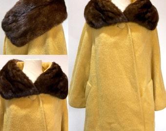 60s Tisse a Paris pour Lilli Ann Fur Collar Princess Swing Coat Jacket . HangerJ . ML . 1241.11.3.16