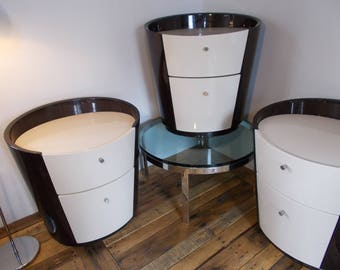 3 MODERN CONTEMPORARY End Tables Vintage 70s 80s Brown & White Lacquer Double Drawers NAGEL Living Room Furniture Night Stands Solid Wood