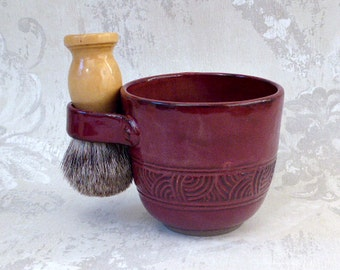 Shaving Mug in Burgundy - Hand Carved- Temporary Hold for Marcy