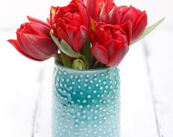 aqua porcelain vase/tumbler with dots