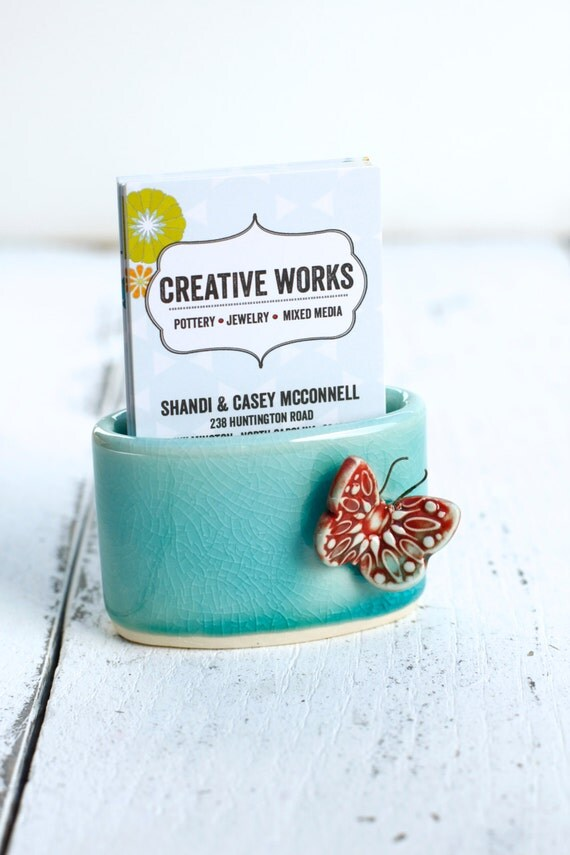 aqua and red butterfly business card holder