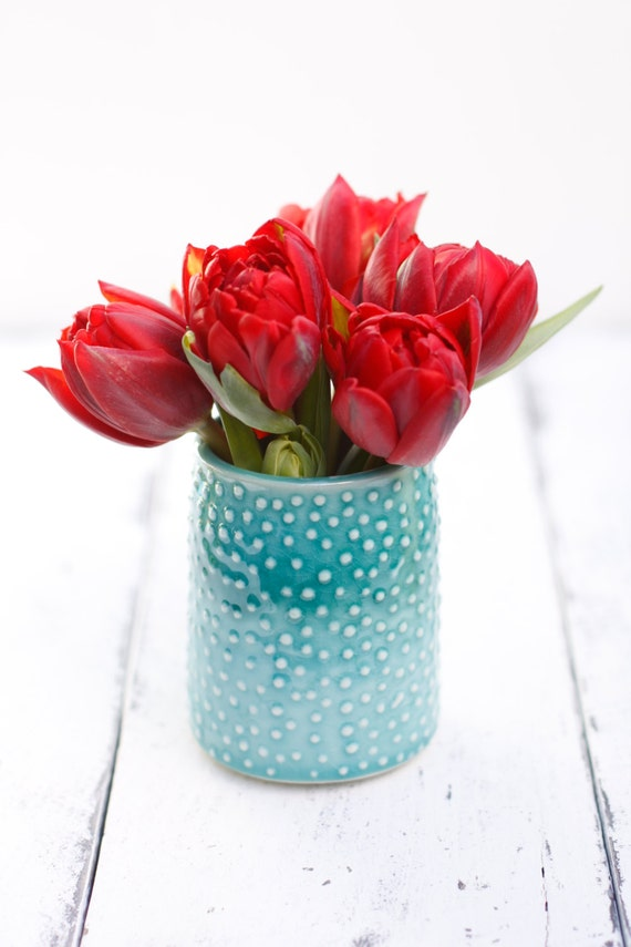 aqua porcelain vase/tumbler with dots