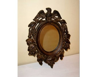 Mirror Cast Iron Frame Oval Civil War Style old vintage wall hanger