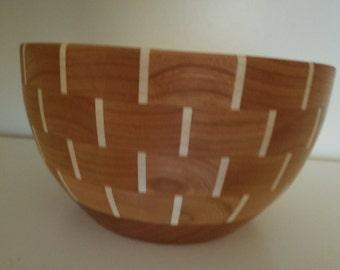 larger segmented cherry maple food safe bowl