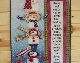 Snowman Wall Hanging Quilt Door Banner My Precious Quilt Handmade Wall Decor