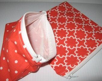 2 pc Reusable Zipper Bag Set Red Dot