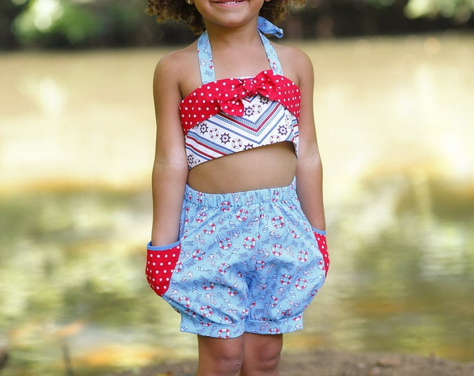 Little Girls Bubble Shorts Set - Toddler Summer Outfit - Beach Playsuit - Nautical Birthday - 4th of July - Cotton Swimwear - sizes 2T - 8