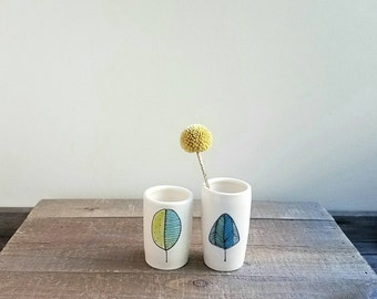 Leaf vase, a pair of leaf vases, small ceramic vase, woodland home decor, hand drawn fall leaf design.