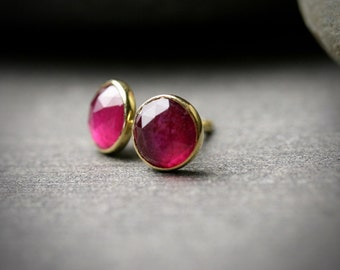 6mm rose cut ruby and 18k yellow gold bezel set stud earrings