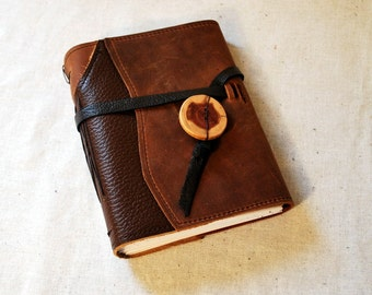 SUMMER SALE:  Medium Rugged Leather Patchwork Journal with Recycled Paper