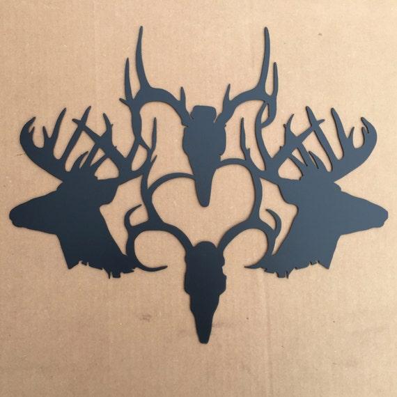 Four Buck Heads Metal Wall Art (N3)