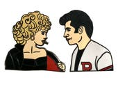 Sandy and Danny Hard Enamel Pin Set Grease Pink Ladies