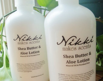 Shea Butter & Aloe Lotion -  Romantic scents (your choice)