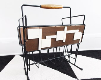SPECIAL OFFER-Atomic Mid Century Danish Modern Magazine Holder /1950s black metal abstract wood magazine rack