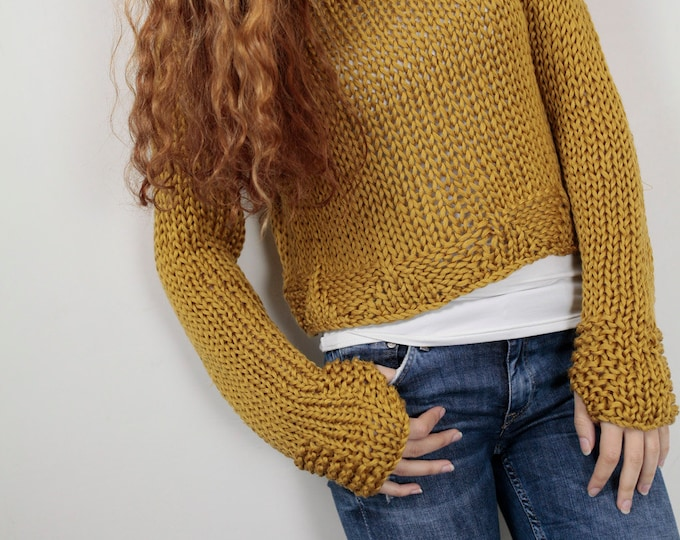 Hand knit woman cotton sweater cropped top pullover sweater mustard