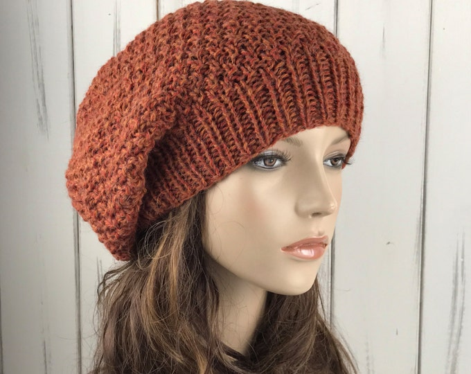 Hand knit Oversized Chunky Wool slouchy Hat slouchy hat brick red - ready to ship