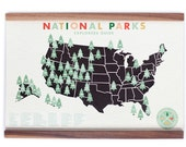 Original National Parks Map 11x17 print with stickers