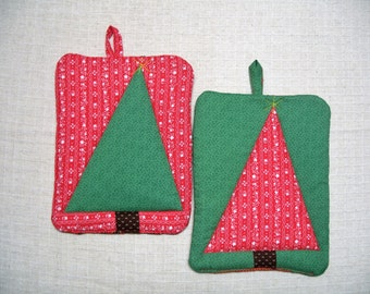 Wonky Christmas Tree Pot Holder Set, Red & Green, Hot Pads, Insulated Trivets, For the Cook, For the Kitchen