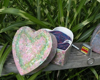 Yarn in heart gift box for knitter crocheter, wool yarn, tapestry needles tape measure Valentine's Day, Mother's Day, Adventures in Yarn