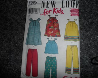 New Look Girl's Peasant Dress, Top, Pants Pattern Sizes 3-8 Uncut