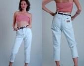 "sale 25% rainy days sale Rigid Wrangler Jeans Vintage White Cotton Slim Fit High Waist Wrangler American Made Denim Jeans (27"" waist)"