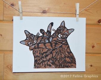 Two kitties - Friends Linocut Print, Cat Print, Linocut, Handprinted, Block Print, Cat Decor, Home Decor, Cat Lady Gift, Cat Gifts