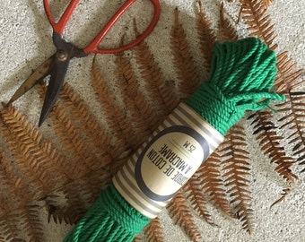 Skein ( 82 ft)  of cotton cord for macrame , diameter 3mm ( 9 ga), made in france GREEN