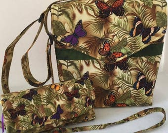 Butterfly Cross Body Bag and Wallet Set, Adjustable Straps