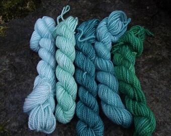 Yarn kit Merino wool Baby alpaca, Silk ,hand dyed DK sport yarn kit--Poseidon