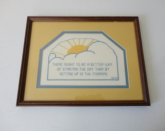 VINTAGE 'there ought to be a better way' framed quirky cynical CROSS STITCH