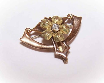 ART NOUVEAU Gold Filled & Rhinestone Floral Watch Pin