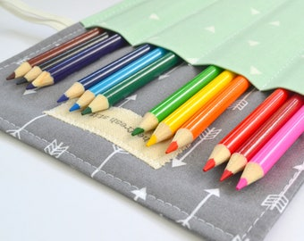 Arrow Colored Pencil Holder, Pencil Roll, 12 Colored Pencils Included, Grey Arrows, Birthday Party Favor, Birthday Gift, Teen Gift Idea