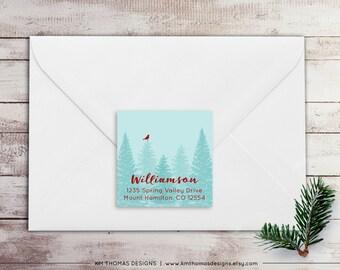 Christmas Tree Return Address Label: Square Label - Holiday Return Address Label - Blue Christmas Label - Return Address Sticker - WH151
