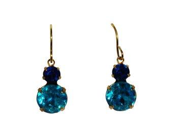 Island Earrings - Vintage Rhinestone Glass Jewel