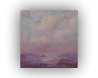 Small Purple and Pink Abstract Landscape- 12 x 12 Field Sky and Clouds Oil Painting- Original Palette Knife Art on Canvas