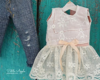 Vintage embroidered lace shirt for Blythe doll plus bonus jeans