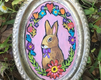 Small Pink Easter Bunny Painting