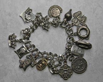Vintage CHARM BRACELET- Tops Weight Loss Club- Virginia- Silver Colored Loaded with Charms- Clover- Telephone- Phone Spinning Top