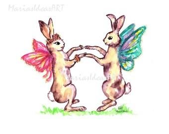 Bunny art, Fairy art, nursery wall art, dancing print, Rabbit print, bunny print, Marias Ideas