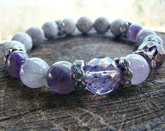 Purple Amethyst Gemstone Bracelet, Glass Bead Bracelet, Women's Beaded Bracelet, Beaded Stretch Bracelet, Gemstone Stacking Bracelet