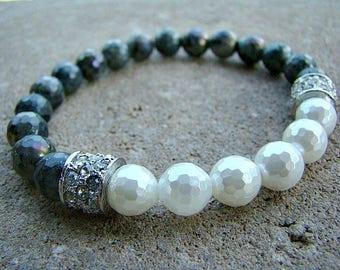 Pearl Bracelet, Stylish Jewelry, Gemstone Beaded Bracelet, Beaded Stretch Bracelet, Rhinestone, Stacking Bracelet, Special Occasion Bracelet