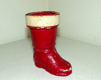 Vintage Papier Mache Red Santa Boot - Candy Container - Christmas decor