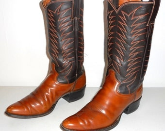 Vintage Cowboy Boots Justin Two Tone Brown 9 B Narrow Western Rockabilly Shoes